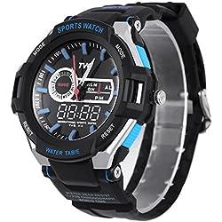 Leopard Shop TVG 801 Men Dual Movt Quartz Digital Watch Water Resistance Chronograph Luminous LED Display Wristwatch Blue