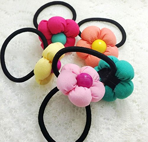 Cheveux Corde élastique Cravates de cheveux pour cheveux corde Bandeau queue de cheval de cheveux en plastique assorties Accessoires cheveux même comme sur la photo (1 Jaune 1 orange 1 Vert 1 Rose 1 Rose)