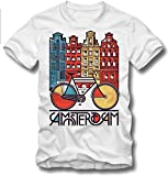 URBAN KULT T SHIRT AMSTERDAM COFFEE SHOP BICYCLE GRACHT CANAL KANAL FIXED GEAR, L
