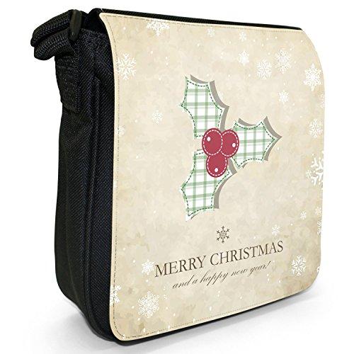 Natale e Capodanno auguri piccolo nero Tela Borsa a tracolla, taglia S Tartan Pattern Holly & Berry