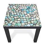 banjado Glas Abdeckplatte Lack Tisch 55x55cm | Glasplatte Sicherheitsglas Motiv Mosaik | Glasbild beschreibbar | Tischplatte perfekt Beistelltisch, Couchtisch, Sofatisch schwarz, Glasplatte & Tisch