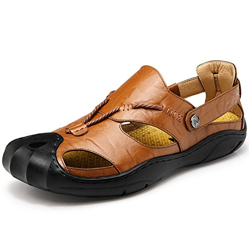 garnier-uomini-pelle-sandali-punto-chiuso-comodo-calzature-moda-spiaggia-estate-allaperto-scarpe-eur