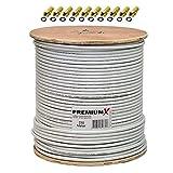 250m 135dB Koaxial SAT Kabel Antennenkabel Koaxkabel 4-Fach abgeschirmt für DVB-S / S2 DVB-C und DVB-T BK Anlagen auf Holz-Trommel + 10 hochwertige F-Stecker