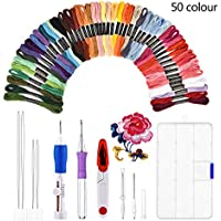 2017 Old Version Embroidery Set, 50 Color Threads and Needle Kit (Embroidery Starter Kit)