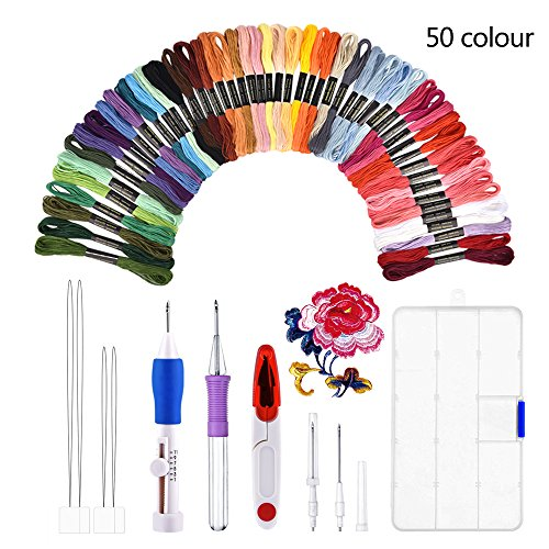 Magie Stickerei Set, BASEIN Stickerei Nähen Punch Nadeln Craft Tool Set Kombination einschließlich 50 Farbe Threads für DIY Nähen - Punch-stickerei-starter-kit