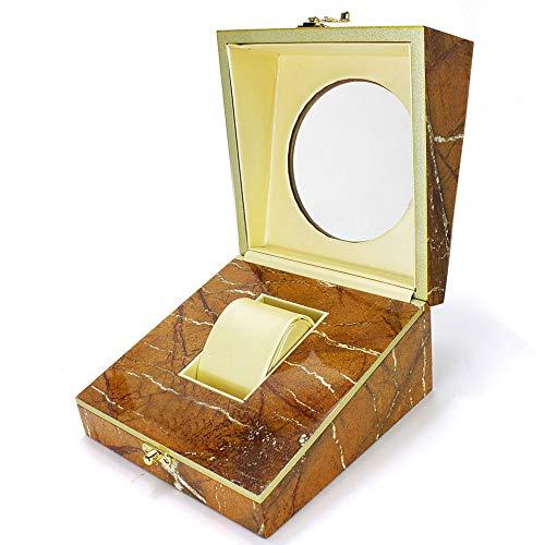 QXTT Premium Uhrenbox Holz Single Grid Uhrenkasten Uhrenschatulle Schmuckschatulle Armband Box Geschenkbox Mit Abnehmbarem Uhrenkissen Für Damen Herren (Die Schatztruhe Juwelen)