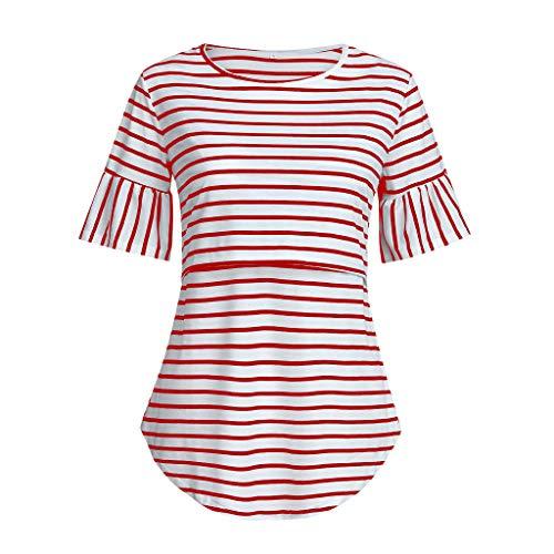 Mitlfuny Blusa Embarazada para Premamá,Camiseta de Maternidad Divertido Estampada de Manga Tops de Rayas de Enfermería de Manga Corta para amamantar Camisa Blusa