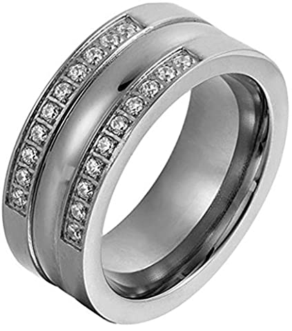 Epinki Women Ring, Silver Anniversary Ring Engagement Rings With Cubic Zirconia Size P 1/2