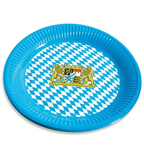 Papp-Teller mit Bayernmuster Bayernteller Papierteller Oktoberferst Dekoration Wiesn-Teller (Kostüm Machen Senf)