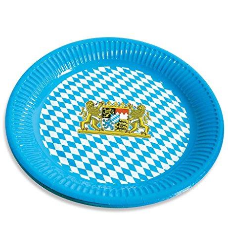 Papp-Teller mit Bayernmuster Bayernteller Papierteller Oktoberferst Dekoration Wiesn-Teller (Kostüm Tiroler Bauer)