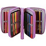 iEFiEL Estuche Bolsa de Lápices de 4 Capas 72+3 Ranuras Plumier Caja de Lápices de Color Bolsa de Cosméticos