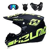 GWJNB Erwachsene Jugend Motocross Helm/Handschuhe/Brille/Maske-Schwarz S (52-53Cm) Erwachsene Dirt Bike Off Road Crash Helm,Black,S