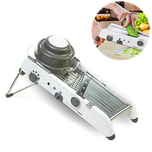 GuDoQi Edelstahl Gemüseschneider Multifunktions Gemüse Schneidemaschine 4 Verstellbare Schneiddicken In Stücke Geschnitten Und Seide Leicht Zu Reinigen (4 Stück Verstellbare Schnitt)