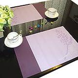 Set von 6 Vinyl Plum Blossom Lila Dinner Tischsets