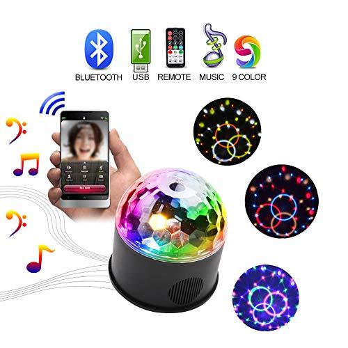 Bluetooth Discokugel Disco Party Licht 9 Color LEDS Blitzlicht DJ Licht für USB mit Fernbedienung Der beste Helfer für Geburtstag Family party Halloween Bar Club