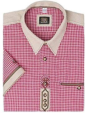 OS-Trachten Herren Trachtenhemd kurzarm rot karo 112335