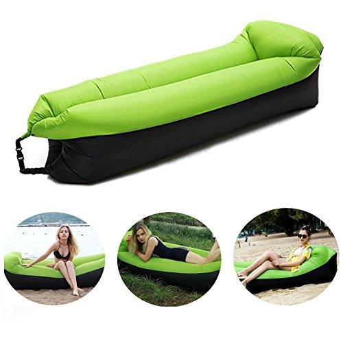 Aufblasbare Liege, Wasserdichtes aufblasbares Sofa mit integriertem Kissen, tragbar Air Betten Schlafen Sofa Couch Lounger für Reisen, Camping, Park, Strand, Hinterhof (Grün)