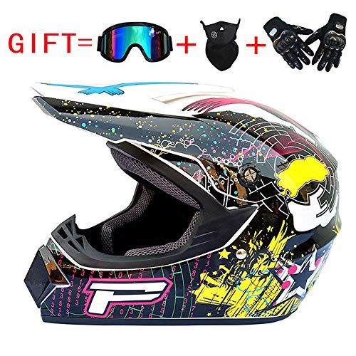 MJW Dual Sport Motocross-Helm und Erwachsene MX Motocross-Handschuhe, D, XL