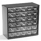 Schubladenmagazin mit 30 Schubladen-Klarsichtmagazin mit glasklaren Schubladen- Gehäuse aus Stahlblech in tiefschwarz