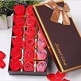 FunRun 18 Pezzi profumato per il bagno petali rosa, Creativo regalo Fiore del sapone artificiali Rose fiori di sapone per la festa di compleanno San Valentino (Rosso)