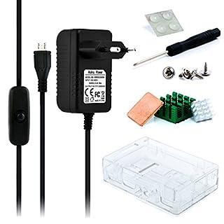 Aukru 3 set kit - Raspberry Pi 3 Gehäuse/Case transparent + 5V 3000mA Netzteil mit Schalter+ Kühlkörper für Raspberry Pi 3 Model B / Raspberry Pi 2 Model B