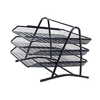 Draht-Schreibtischablage für Papiere im A4-Format mit Rahmenkonstruktion aus Metall und drei Ablageböden, schwarz