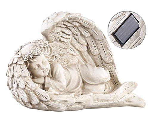 Lunartec LED Engel: Schlafende Solar-LED-Schutzengel-Figur, 16 cm, für innen & außen (Garten (Friedhof Dekoration Lichter)