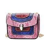 2019 Mini Kleine Tasche Weiblich Herbst Mode Kinder Handtasche Flut Pop Schlange Muster Mädchen Kette Crossbody Kleine Quadratische Weibliche Puppe Tasche (Rosa, 11x9x5 cm)