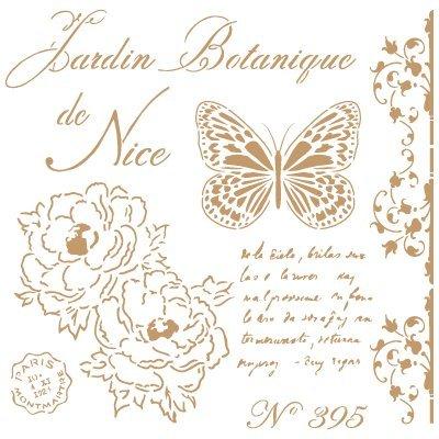 Stencil Deco Vintage Composición 209 Botanique Nice. Medidas aproximadas: Medida exterior del stencil: 25 x 25 cm Medida del diseño: 21 x 21 cm
