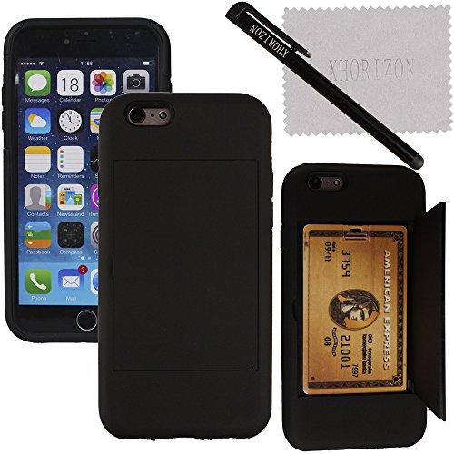 """xhorizon TM Heavy Duty Bouclier dur/souple anti-choc portefeuille carte de crédit hybride de couverture de cas etui coque housse prochette pour 5.5"""" iPhone 6 Plus"""