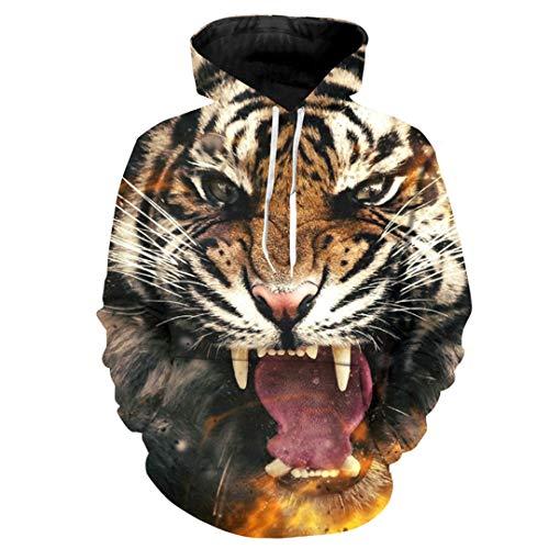Design Männer Mit Kapuze Hoodies Langarm Pullover Herren Sweatshirts 3D Druck Tiger Animal Hoody Plus Größe Photo Color 4XL