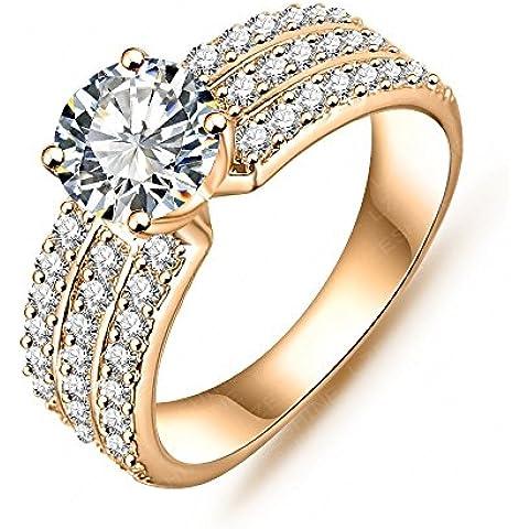 AnaZoz joyería Art mujeres Bride anillo Platinum oro 18 K plateado circonios incrustaciones