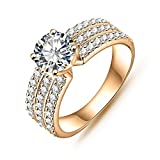 AnazoZ Jewelry Style Women Bride Rings Real Platinum/18K Gold Plated AAA Swiss Cubic Zirconia Inlayed Rings CRI0012 L 1/2