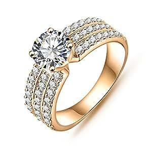 AnazoZ Jewelry Style Women Bride Rings Real Platinum/18K ... - photo #3