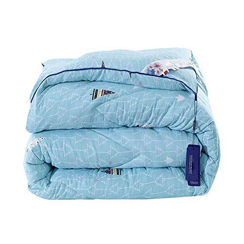 LCDY Winter Dicke Warme Einfache Steppdecke, Bedruckte Baumwolle Gewaschene Steppdecke, Faule Steppdecke, Heimischer Pflanzenstoff,Blue,180 * 220CM2