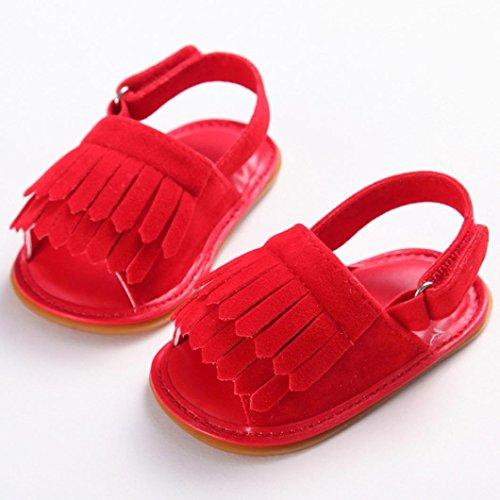Clode® Bébé Enfant Kids Girl Soft Sole Crib Toddler nouveau-né chaussures sandales (6~ 12 mois, Bleu) Rouge