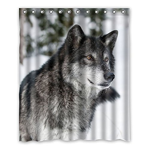 """152 centimetri x183 cm (60 """"x72"""") Bagno Doccia Tenda, universale personalizzato Snow Wolf bello, Animale casuale Tema Bathroom Shower Curtain"""