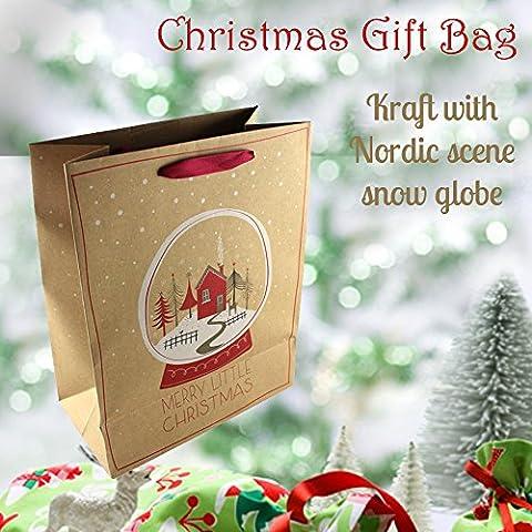 Grande regalo di natale Borsa Kraft–Palla di neve con nastro rosso maniglia e Mini neve regalo Tag