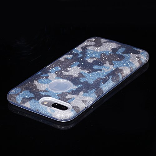 EGO ® Glitzer Schutzhülle für iPhone 7, Camouflage Grün Back Case Bumper Glänzend Transparente TPU Bling Weiche Glamour Handy Cover Lipgloss Camouflage Blau + Glas