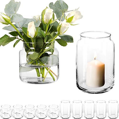 12 Stück Dekoglas im Set mit [ 6X Kerzenglas und 6X Blumenvase ] Kerzenhalter Windlicht Glas groß Vase