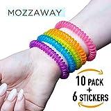 Mozzaway Repellente per zanzare bracciali (Confezione da 10) per Adulti e Bambini. con citronella, citronella e Geranio Senza DEET e tossici Free