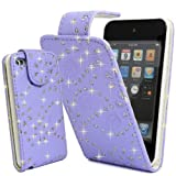 PURPLE GLITTER DIAMOND PU LEATHER CASE COVER