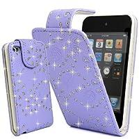 Mobile_Mania Klappetui Violett Glitter Strass PU Leder Für iPod Touch 4 4G 4th Generation