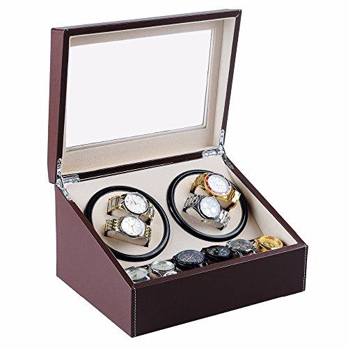 L.HPT® 4 + 6 Holz Uhrenbeweger mit Hochglanz Klavierlack, Automatische Uhrenbeweger Box Uhrengehäuse Schmuckschatulle Cases & Displays (Hochglanz-aufbewahrungsbox)