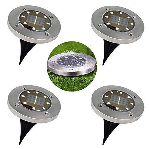 Bereich Rasen-leuchte (Solarleuchten Gartenleuchten - 8 LED Solar Leuchte Bodenleuchten Aussen Garten leuchten Wasserdicht IP65 für Rasen Weg Hof Fahrstraßen Innenhof Gehweg Pool-Bereich, Warmweiß (4 Stück))