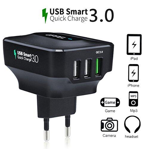 [Quick Charge 3.0] Qualcomm Cargador de Pared con 3 Puertos USB Carga Rápida Tecnología Smart IC para iPhone 6s, Nexus 6, Note 4 / 5, LG G4 y más dispositivos Electrónico –Milool