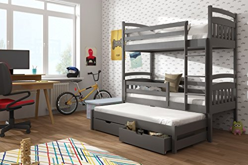 Brand New Wooden Bunk Bed with Trundle and Storage ALAN in Grey Graphite with Mattresses sold by Arthauss (RIGHT)