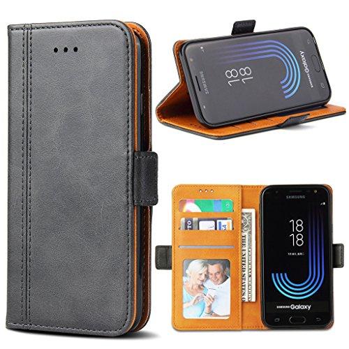 Bozon Galaxy J5 2017 Hülle, Leder Tasche Handyhülle für Samsung Galaxy J5 Duos (2017) Schutzhülle mit Ständer und Kartenfächer/Magnetverschluss (Dunkel-Grau)