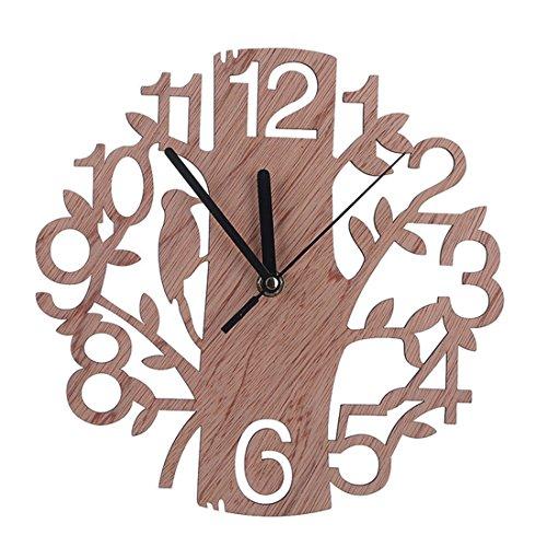 Txxci 22 cm/8.7 pollice orologio da parete in legno con albero e uccello decor per casa