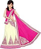 S R Fashion Girl's Faux Georgette Semi-Stitched Lehenga (Sr-801-2_Pink_Free Size)